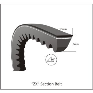 Keilriemen ZX 29 - X 10 x 735 Li, 757 Lw